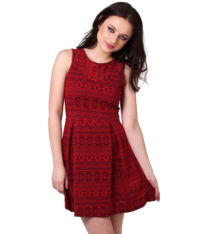 KRISP Damen Kurzes gemustertes Kleid Swing Minikleid