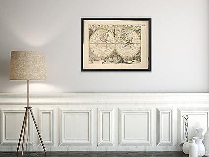 Amazon.com: 1700 Map World A of The terraqueous Globe According to ...