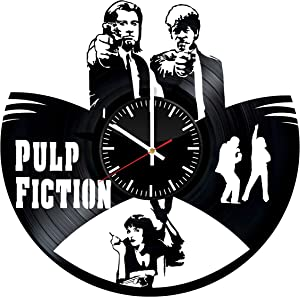 Pulp Fiction Vinyl Records Wall Clock - Original Present for Movie's Fans - Wall Art Room Decor Handmade Decoration Party Supplies Theme Birthday Gift Vintage Modern Style