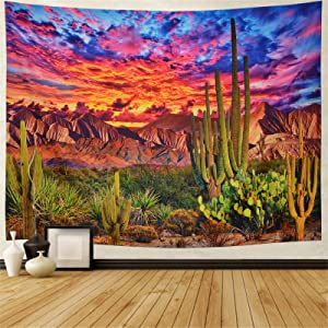 Mountain Tapestry Desert Cactus Tapestry Sunset Clouds Tapestry Psychedelic Tropical Plants Wall Tapestry Nature Scenery Tapestry Wall Hanging for Bedroom Decor