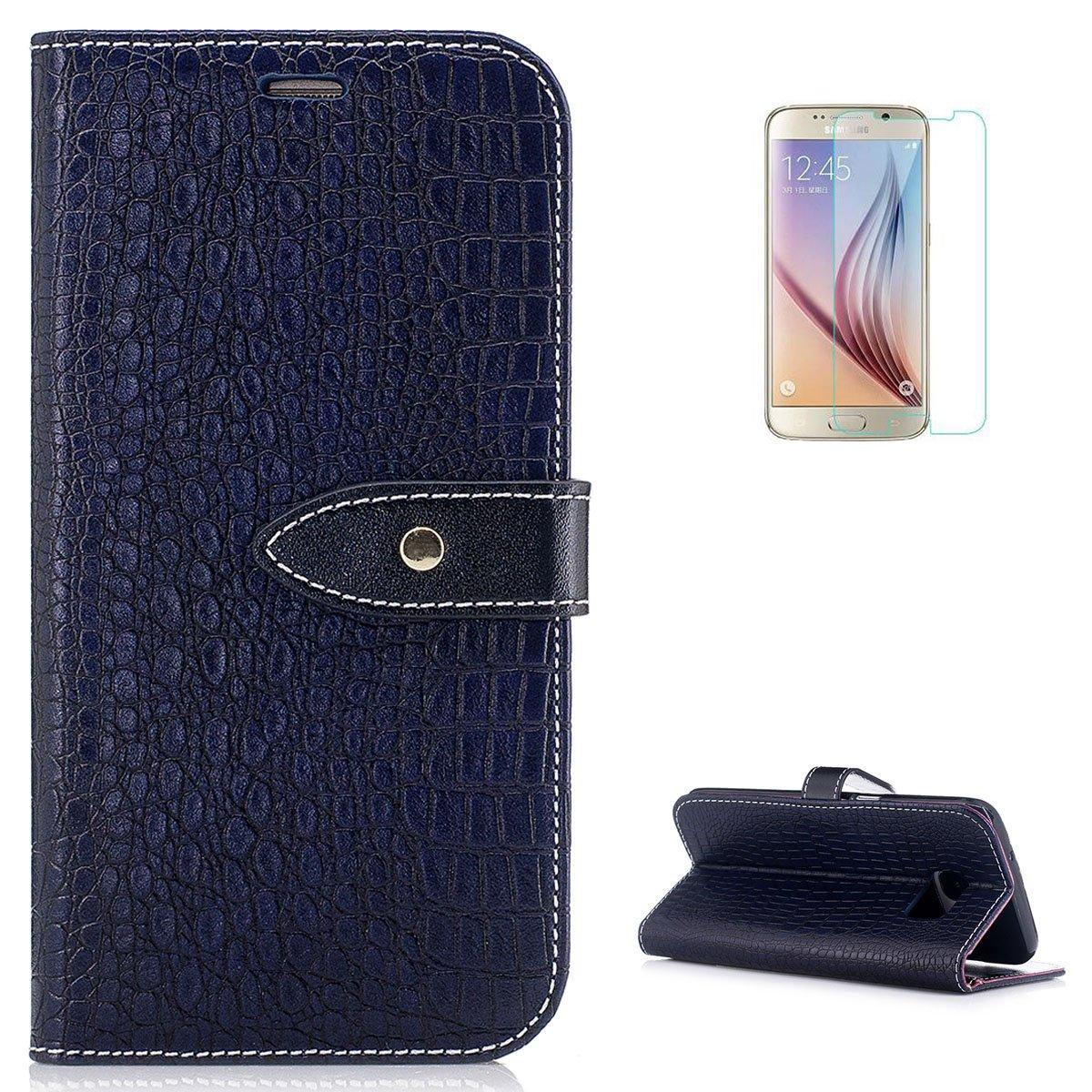 KaseHom Case for Samsung Galaxy S7 Edge PU étui en cuir Modèle de crocodile Emplacements pour cartes, béquille Housse de protection avec lanière [Gratuit Protecteur d'écran]-Or CaseHome CHSAS7E-197577