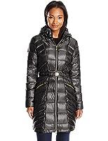 Via Spiga Women's Metallic Packable Down Coat With Belt