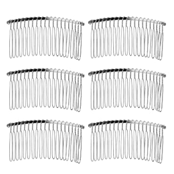 Silver 20 Teeth Fancy Metal Wire Hair Clip Comb for Bridal Wedding Veil Combs