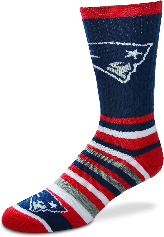 New England Patriots For Bare Feet Lotta-Stripe Mens Crew Socks Size Large