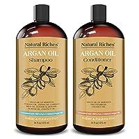 Natural Riches Moroccan Argan Oil Organic Shampoo & Conditioner Set Sulfate Free...