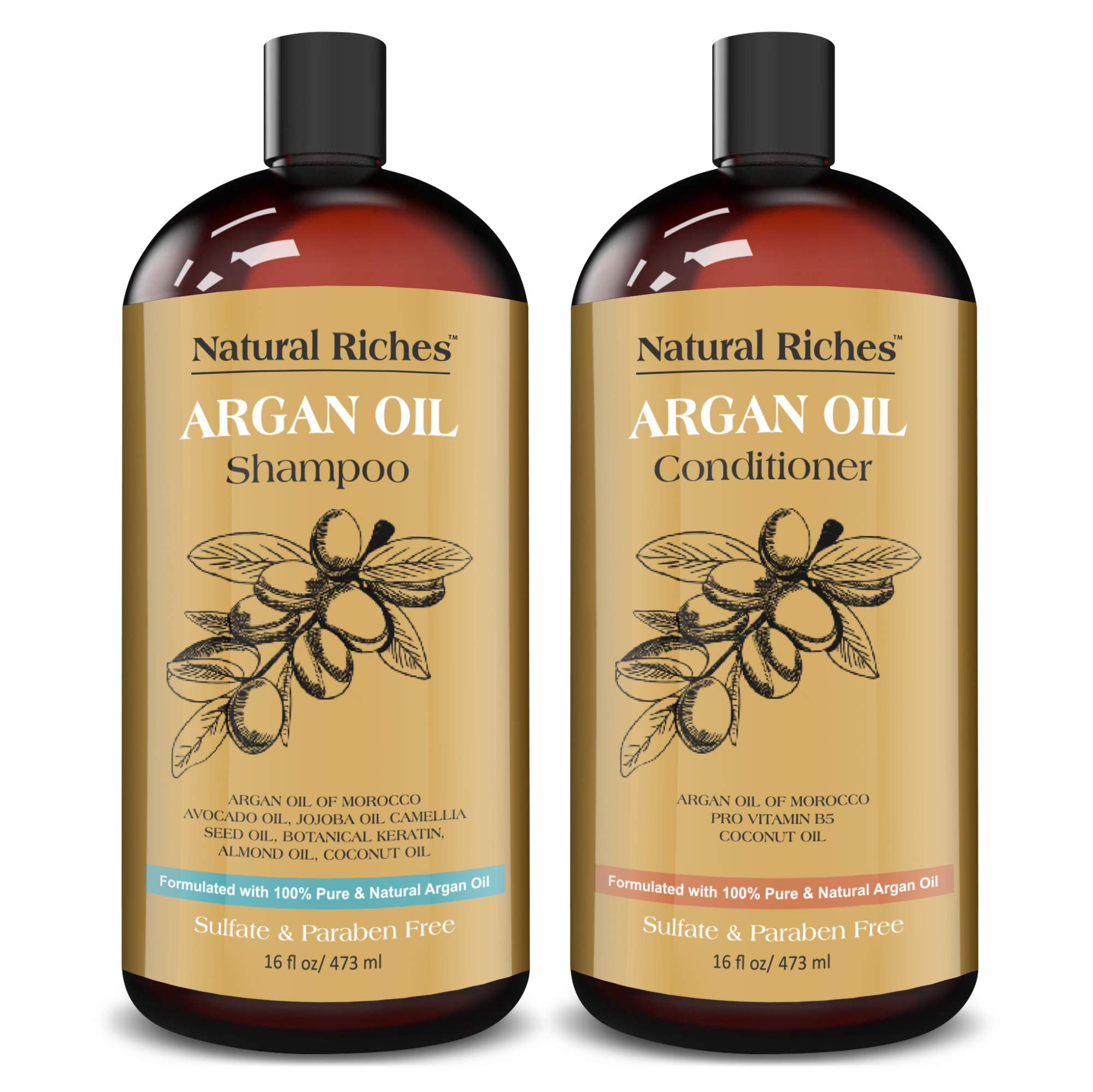 Natural Riches Moroccan Argan Oil Organic Shampoo & Conditioner Set Sulfate Free, Vitamin enriched infused with Keratin. (2 x 16 Fl oz)