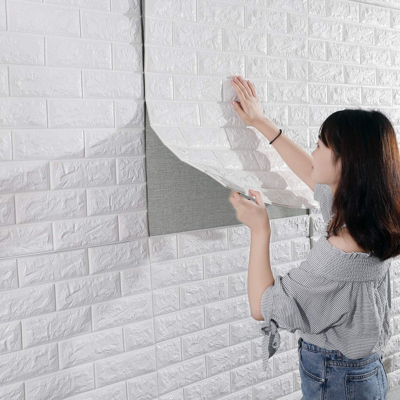 CRZJ 3D Imitation Brique Blanc Stickers Muraux en Trois Dimensions Auto-Collant Collision Jupe Murale Le Fond Dé coration Papier Peint 70 * 77CM, 10pcs