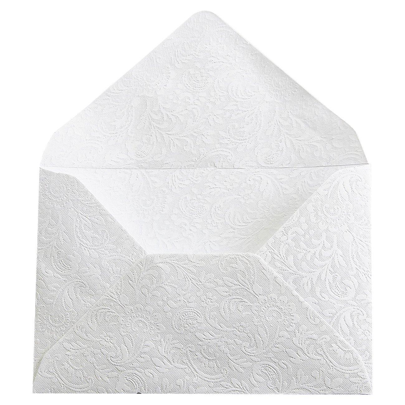 Mini Envelopes - 100-Count Bulk Gift Card Envelopes, Floral Pattern Business Card Envelopes, Bulk Tiny Envelope Pockets for Small Note Cards, White 4 x 2.7 Inches