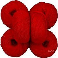 Vardhman Acrylic Knitting Wool, Pack of 6 (Deep Red) Baby Soft Wool Ball Hand Knitting Wool/Art Craft Soft Fingering Crochet Hook Yarn, Needle Knitting Yarn Thread Dyed