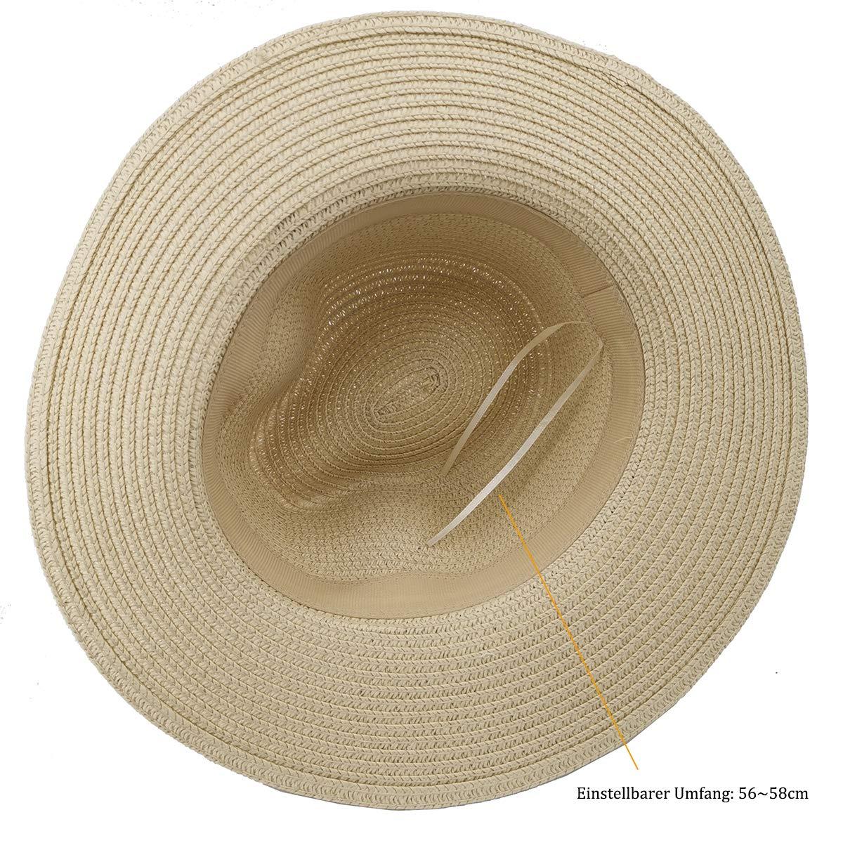 Charmylo Summer Fedora Trilby Straw Sun Hats for Women Safari Beach Hat Foldable