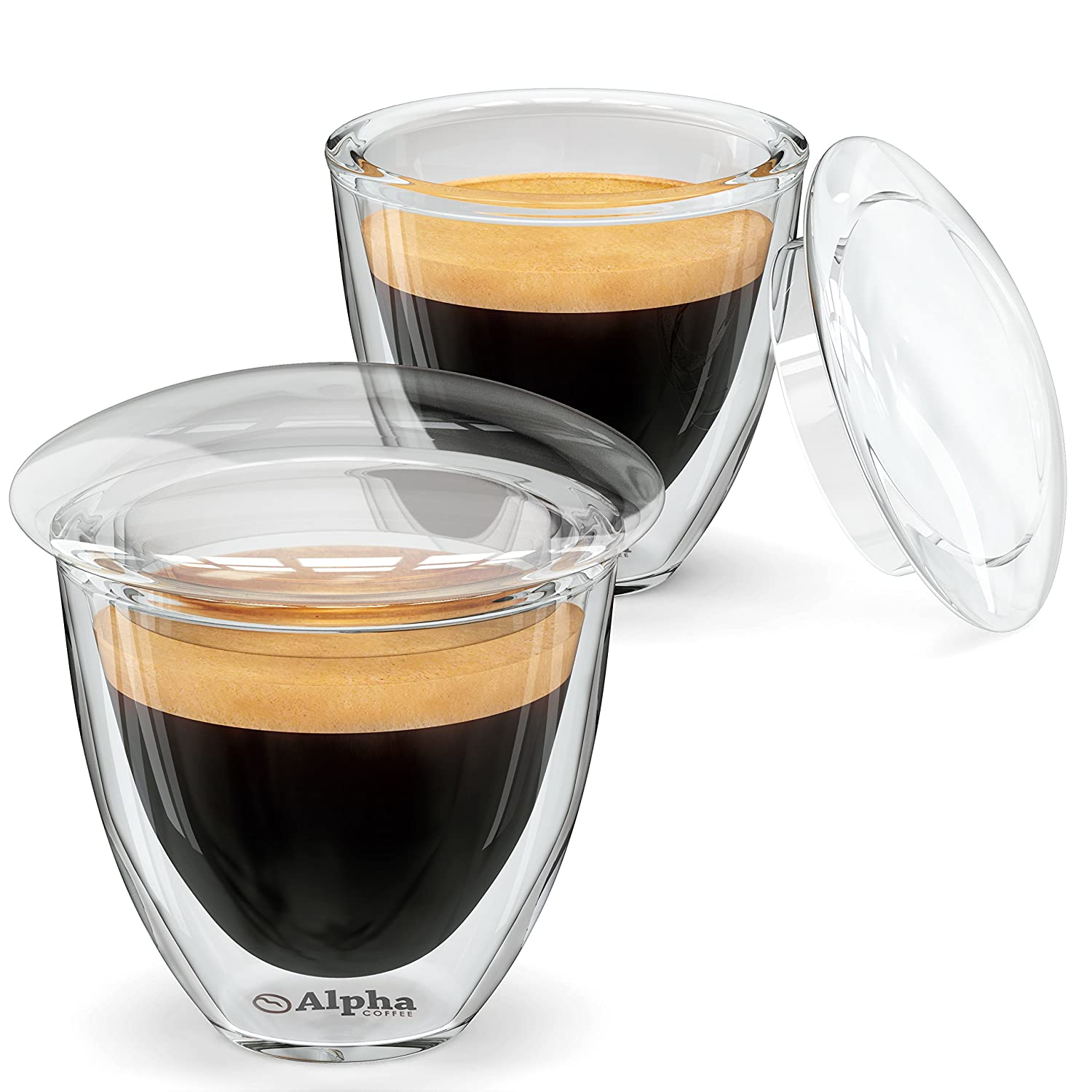 amazoncom  espresso cups with lids  set of   double walled  - amazoncom  espresso cups with lids  set of   double walled demitasseshot glasses to keep your coffee hot by alpha grillers espresso cups