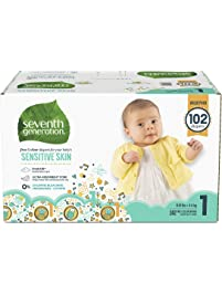 Seventh Generation Baby Diapers for Sensitive Skin Animal Prints, Size 1: 102 Count