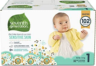 product image for Seventh Generation Baby Diapers for Sensitive Skin, Animal Prints, Size 1, 102 Count (Packaging May Vary)