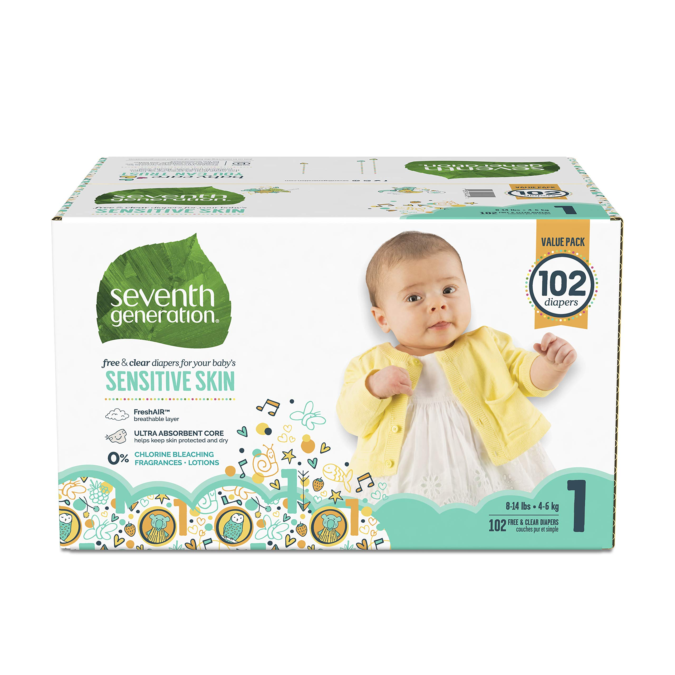 Seventh Generation Baby Diapers for Sensitive Skin, Animal Prints, Size 1, 102 Count (Packaging May Vary) by Seventh Generation