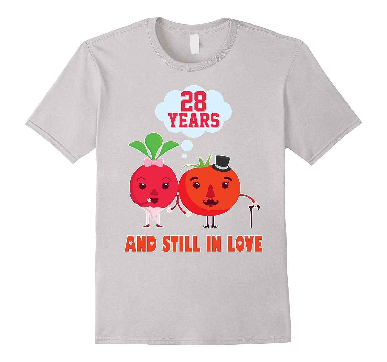 28th Wedding Anniversary Gift: 28th Wedding Anniversary T-Shirt For HusbandWife Cool Gift