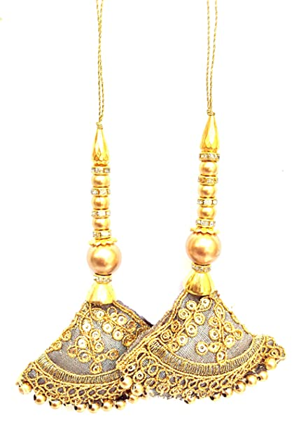 Golden Golden Tassels 1 Pair Charm Tassels Long Tassels Indian Tassels Handmade Accessory Blouse Sari Latkan Boho Hippie Jewelery Making Ethnic Craft Sewing Sari Dress Material