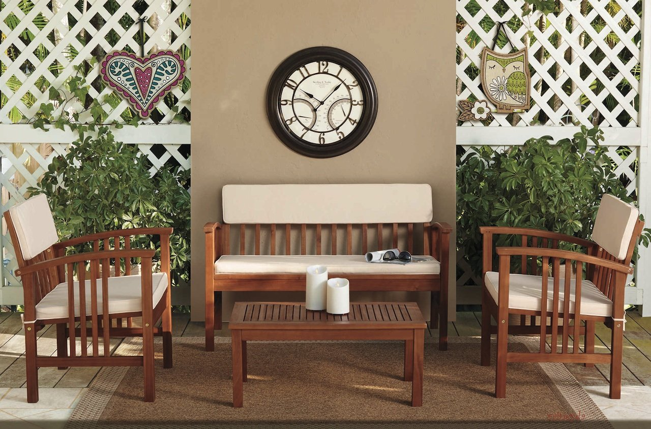 "Durable Four Piece Wood Deep Seating Patio Furniture Set Indoor Outdoor Conversation or Chat Set Acacia Wood Tropical Hardwood (Brown) (Brown) - Constructed of Solid Acacia wood. One 47.2"" W x 24.6"" D x 27.7"" H cushioned loveseat One 31.5"" W x 17.7"" D x 13.8"" H coffee table - patio-furniture, patio, conversation-sets - 813F9XhTD4L -"