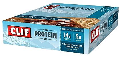Clif Bar - Barra de proteína de suero de leche Coco almendra Chocolate - 8 Bares