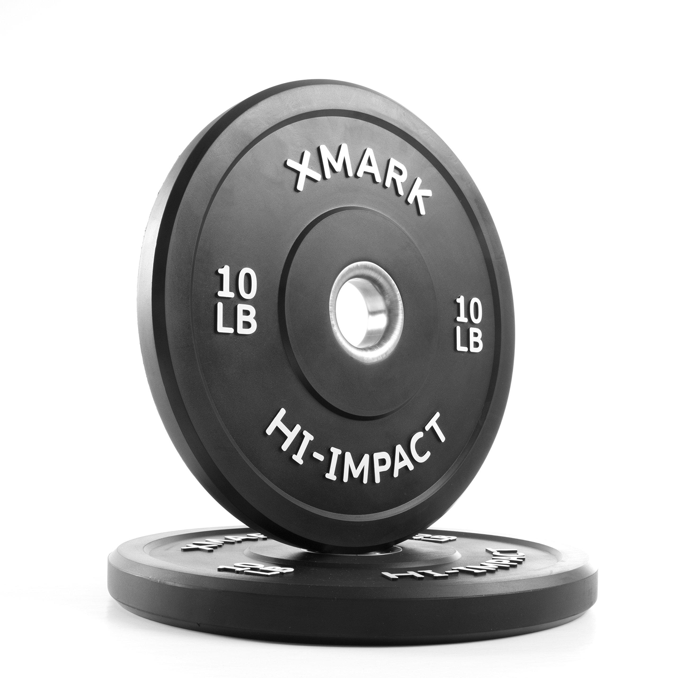 XMark 10 lb Pair Hi-Impact Bumper Plates, Three-Year Warranty, Hi-Impact Dead Bounce Commercial Olympic Bumper Weight Plates, XM-3393