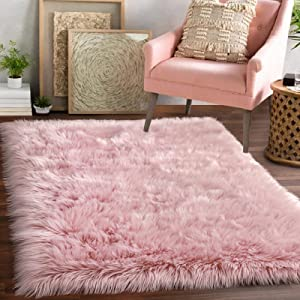 Luxury Faux Sheepskin Fur Area Rug, Fluffy Pink Rugs for Bedroom Girls Room Bed Side, 3x5 ft Soft Fuzzy Carpets for Living Room Accent Decor