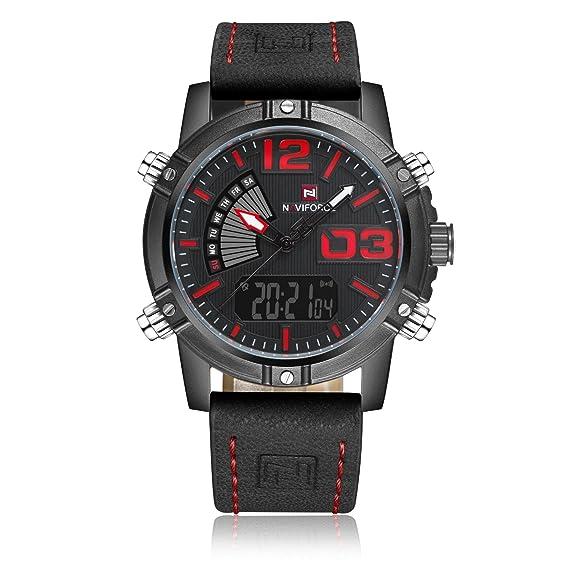 Qingmei Hombres del deporte Relojes Moda Lujo impermeable militares relojes Digital de cuarzo reloj de pulsera de piel: Amazon.es: Relojes
