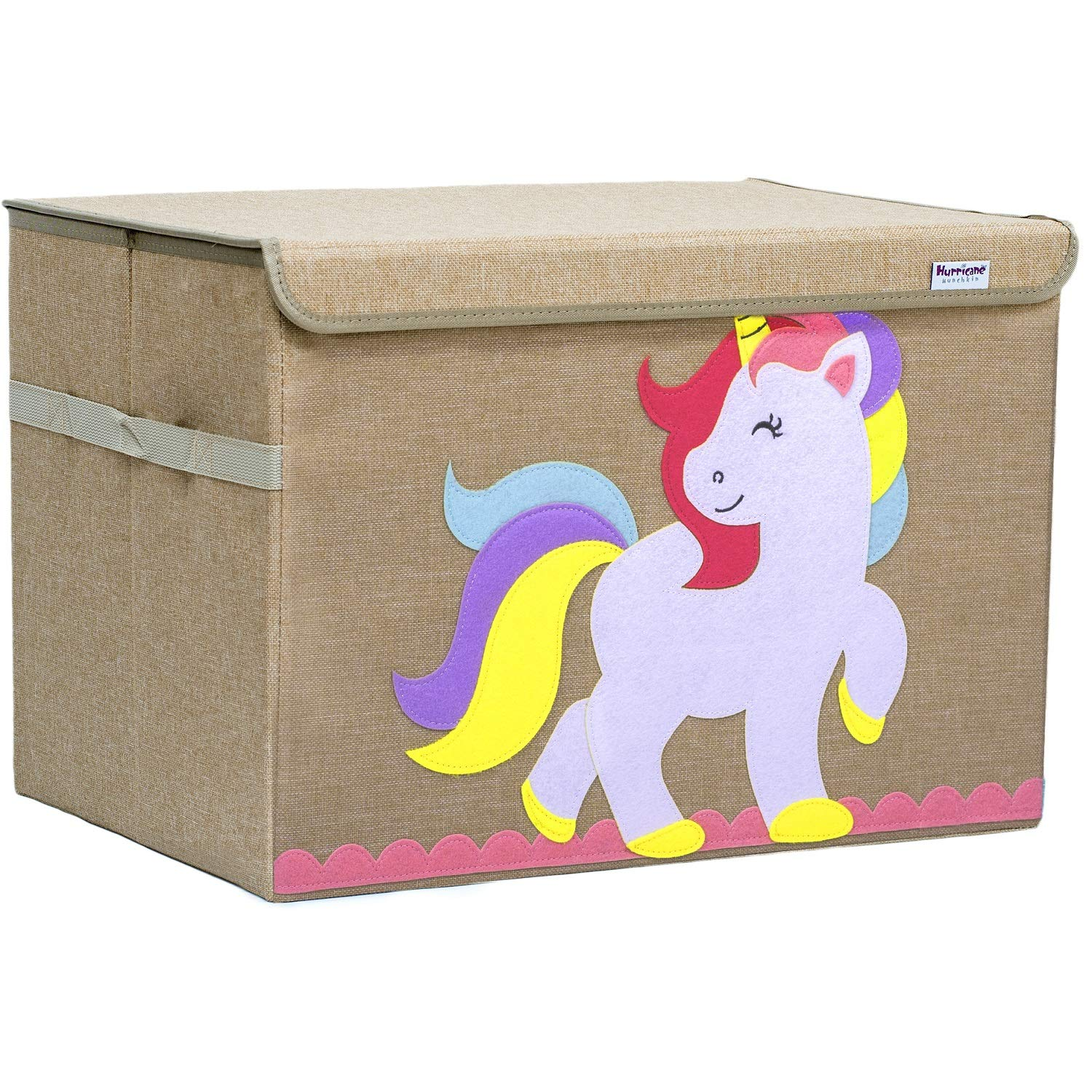 Hurricane Munchkin Large Toy Chest. Canvas Soft Storage Bin with Lid for Toy Storage, Books, Stuffed Animal, Clothes. Princess Girls Toy Box for Girls Nursery, Bedroom 14''x 15''x 21'' (Unicorn) by Hurricane Munchkin