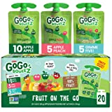 GoGo squeeZ Fruit on the Go Variety Pack, Apple Apple, Apple Peach, & Gimme Five!, 3.2 oz. (20 Pouches) - Tasty Kids Applesau