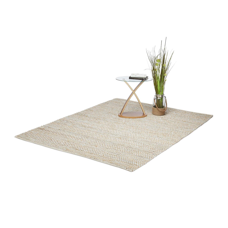 Relaxdays Teppich Zickzack, handgewebter Wohnzimmerteppich aus Jute und Leder, gemustert, 160 x 230 cm, mehrfarbig