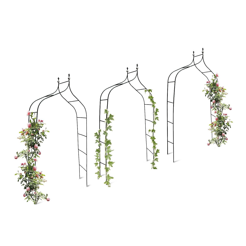3er Set Rankbogen Metall geschwungen 240 cm, royaler Rosenbogen mit Spitze, Rankhilfe und Gartendeko für Draußen, grün grün relaxdays