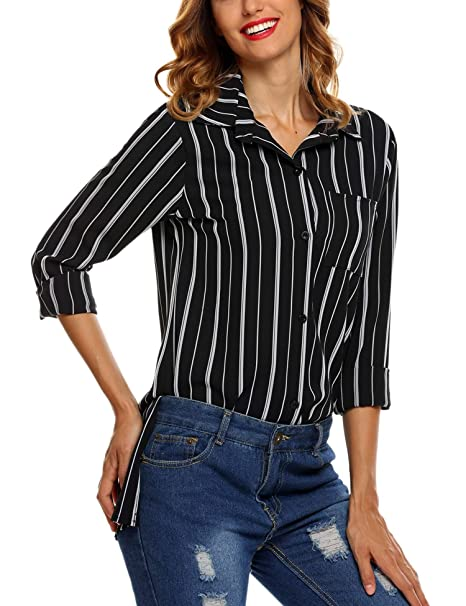 51b3193a074b SoTeer Women's Vertical Stripes Button Down Long Sleeve Shirt Blouse Tops ,Black,Small