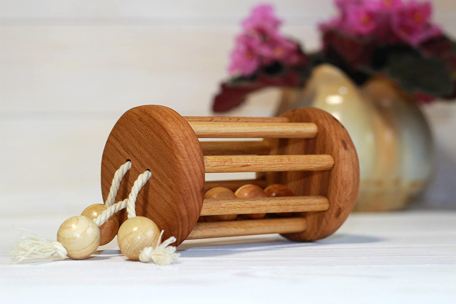 Classic Rolling Baby Rattle - Wood Toy Ball Cylinder - Montessori Infant Toy Baby wooden toys
