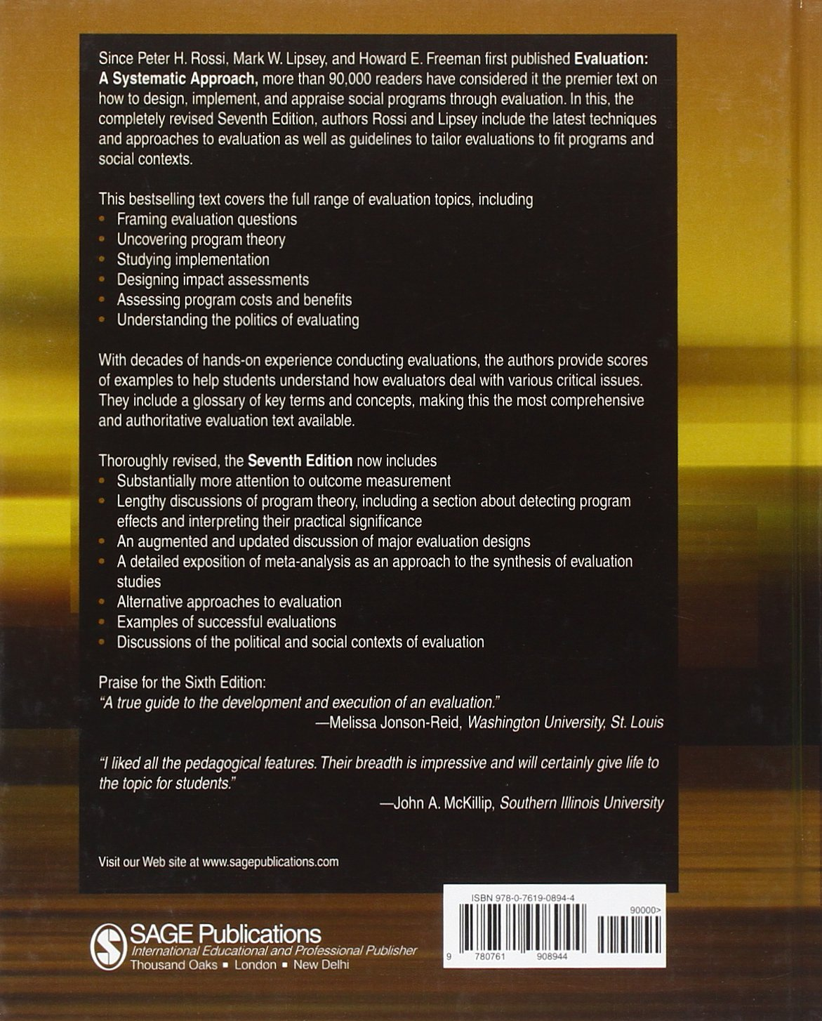 Evaluation: A Systematic Approach: Amazon.de: Peter H. Rossi, Mark W ...