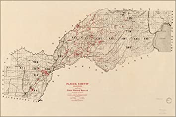 Amazon.com : 20x30 Poster; Map Of Placer County California 1902 ...