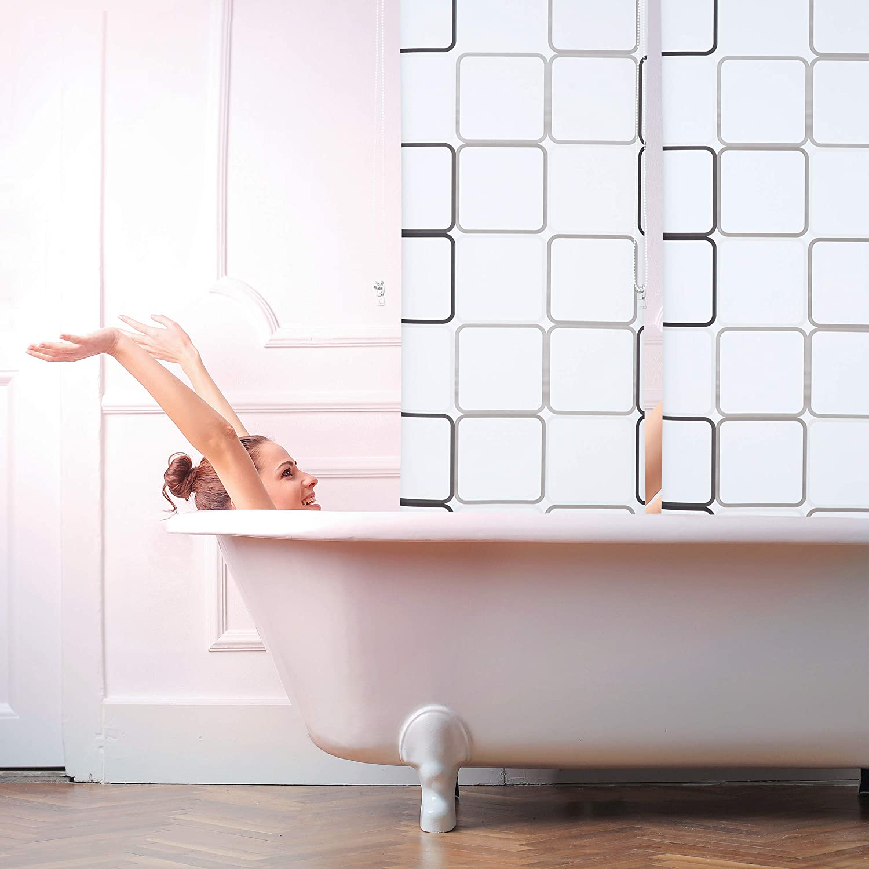 Semitransparente 60x240 cm Cortina de Ducha Square Relaxdays A Cuadros Soporte de Techo PVC-Pl/ástico-Aluminio