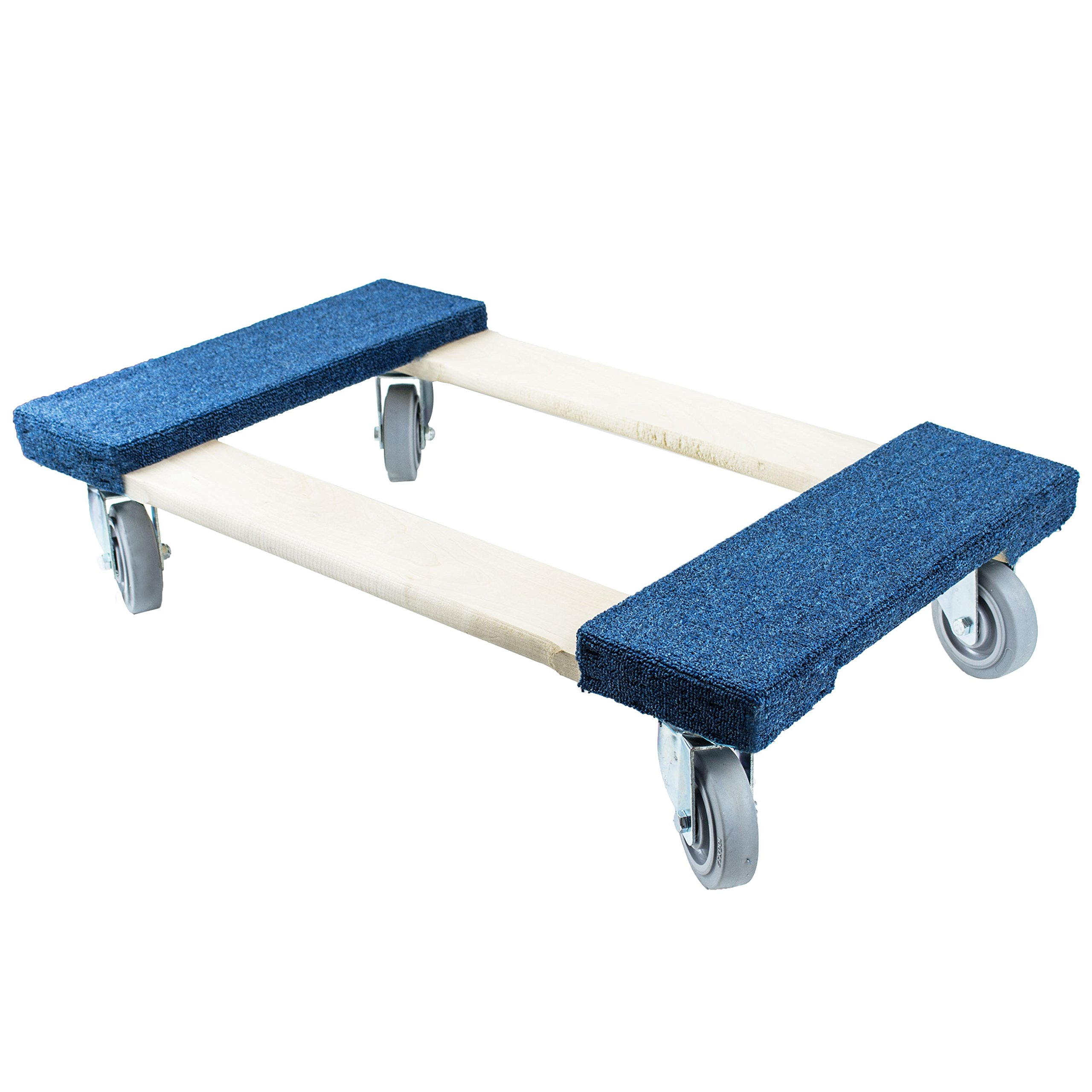 NK Furniture Movers Dolly, Soft Gray Non-marking TPR Wheels, 30'' Length x 17'' Width (Blue, 4'' TPR Wheels)