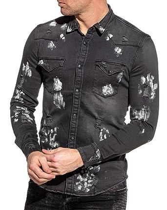 90ba388d3b0 BLZ Jeans - Chemise en Jean Noir délavé déchiré avec Peinture - Couleur   Noir -