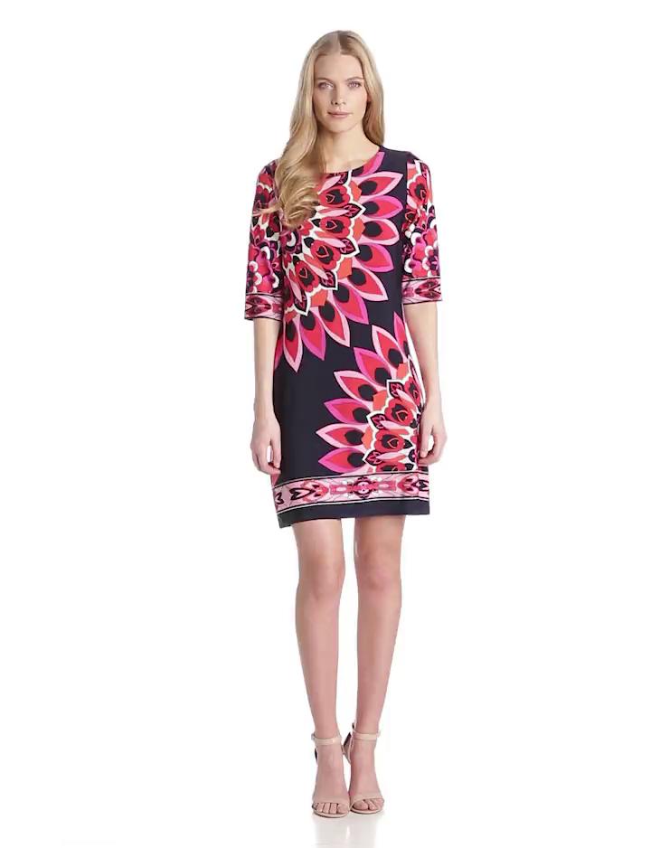 Sandra Darren Womens Elbow Sleeve Floral Printed Dress