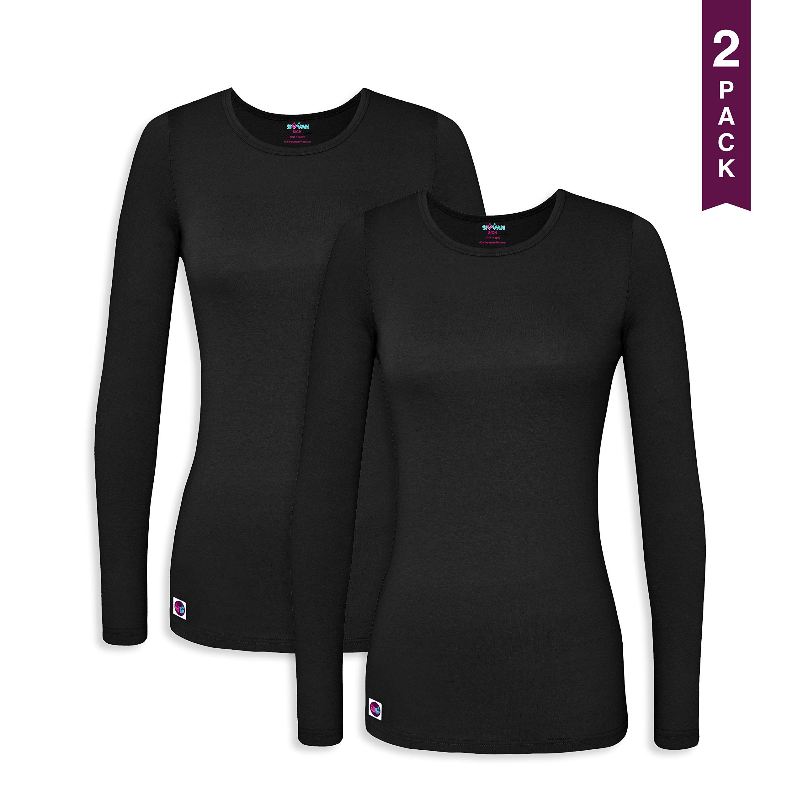 Sivvan 2 Pack Women's Comfort Long Sleeve T-Shirt / Underscrub Tee - S8500-2 - BLK - M