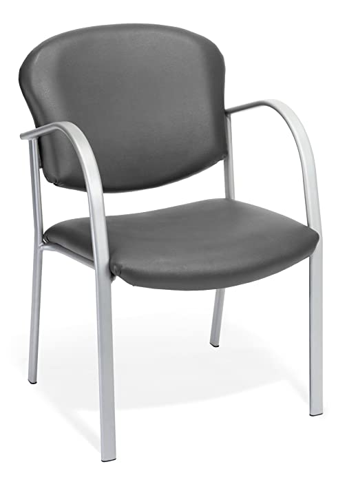 OFM 414-VAM-604 Reception Chair with Arms - Vinyl Guest Chair, Charcoal