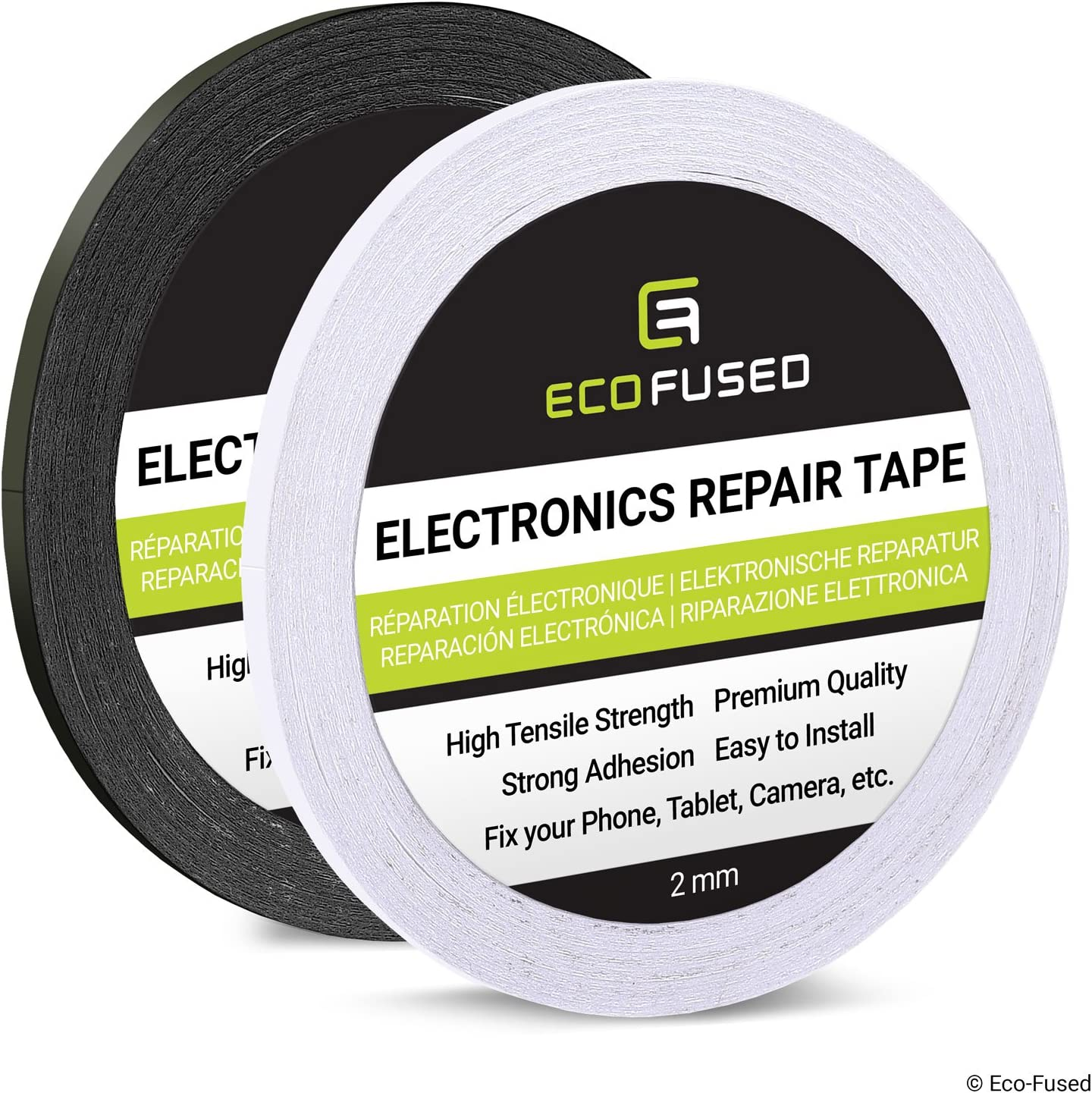 Eco-Fused Adhesive Sticker Tape for Use in Cell Phone Repair - 2 Rolls of Double Sided 2mm Tape - Plus 1 Eco-Fused Microfiber Cleaning Cloth (Black and White)