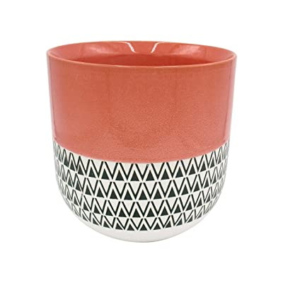 """Stone & Beam Mid-Century Patterned Planter, 10.53""""H, Coral: Home & Kitchen"""