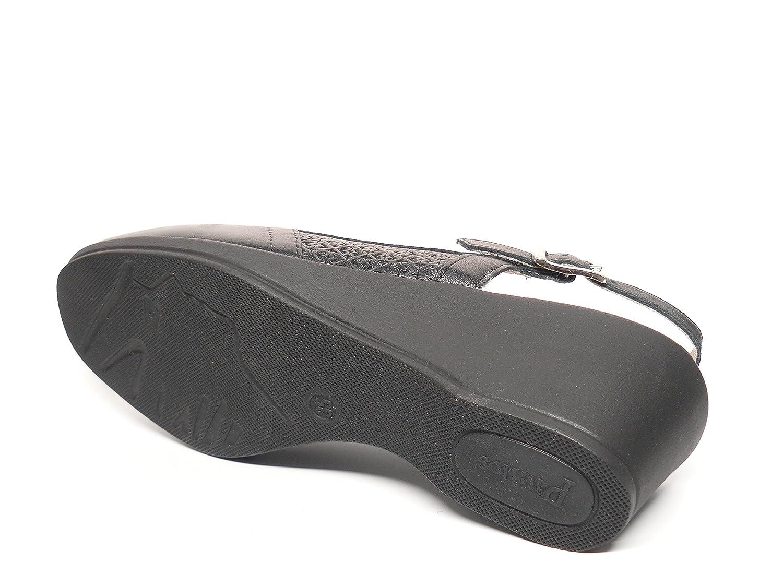 Zapato casual mujer tipo mocasin en piel grabada color negro , abiertos de talon de la marca PITILLOS 272 - 202 (35, negro)