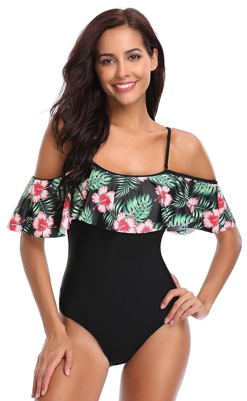 29b9e3253bc1 SHEKINI Donna Sexy Ruffles Costumi da bagno Un Pezzo Bikini Imbottito  Costume intero Beachwear Esotico con