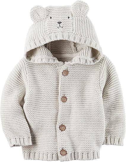 b41f0632befd Amazon.com  Carter s Baby Boys  Hooded Bear Cardigan 24 Months  Clothing