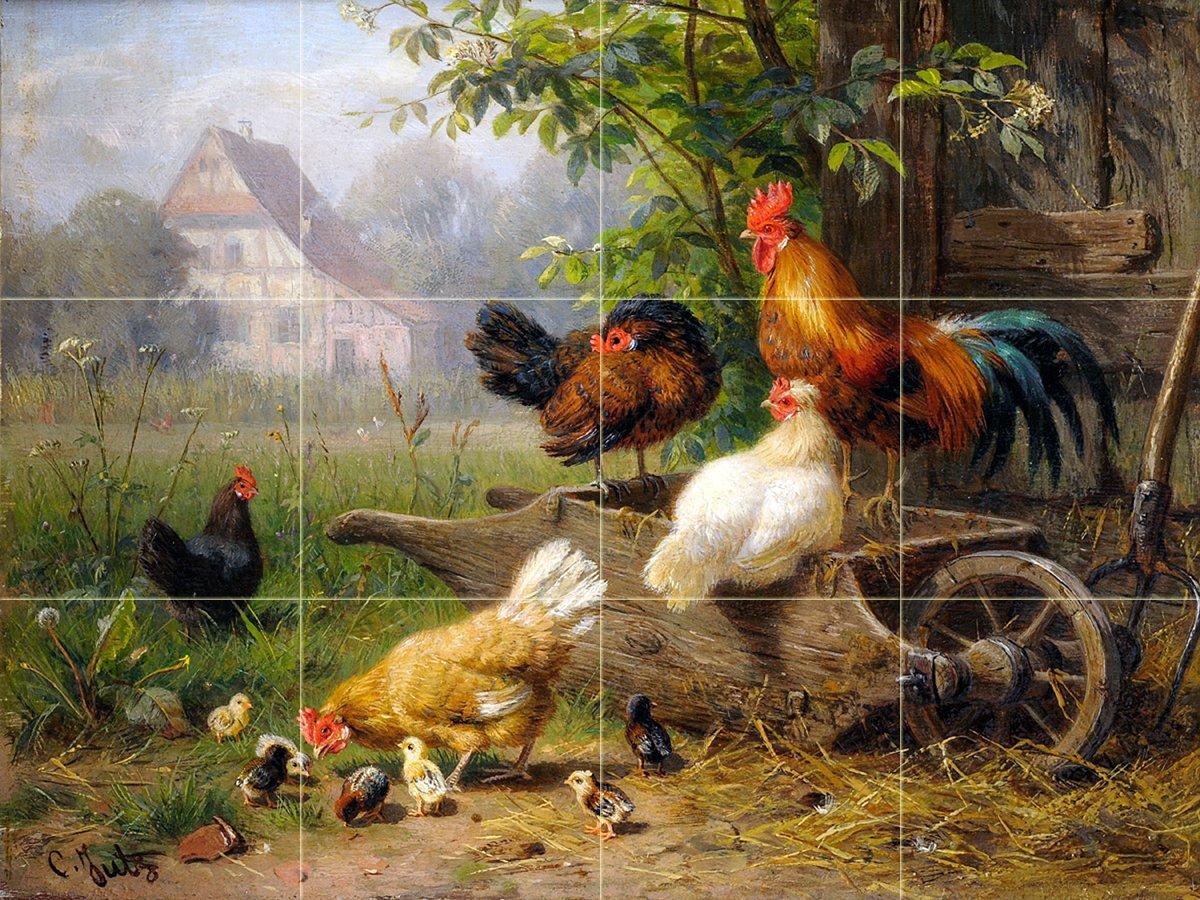 Matte Tile Mural Farm Rooster Chickens by Carl Jutz Kitchen Bathroom Shower Wall Backsplash Splashback 4x3 4.25 Ceramic