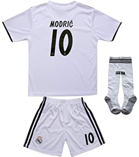 0f4eeeb2770 textface 2018/2019 Real Madrid #10 Modric Kids Home Soccer Jersey & Shorts  Youth