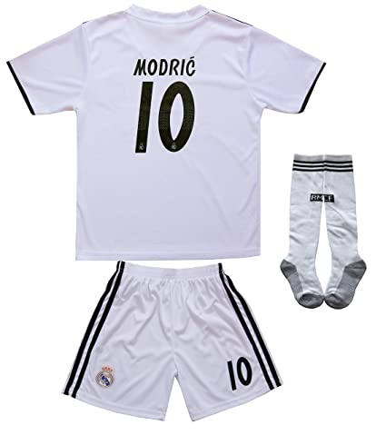 wholesale dealer 5ffc8 468e7 textface 2018/2019 Real Madrid #10 Modric Kids Home Soccer Jersey & Shorts  Youth Sizes