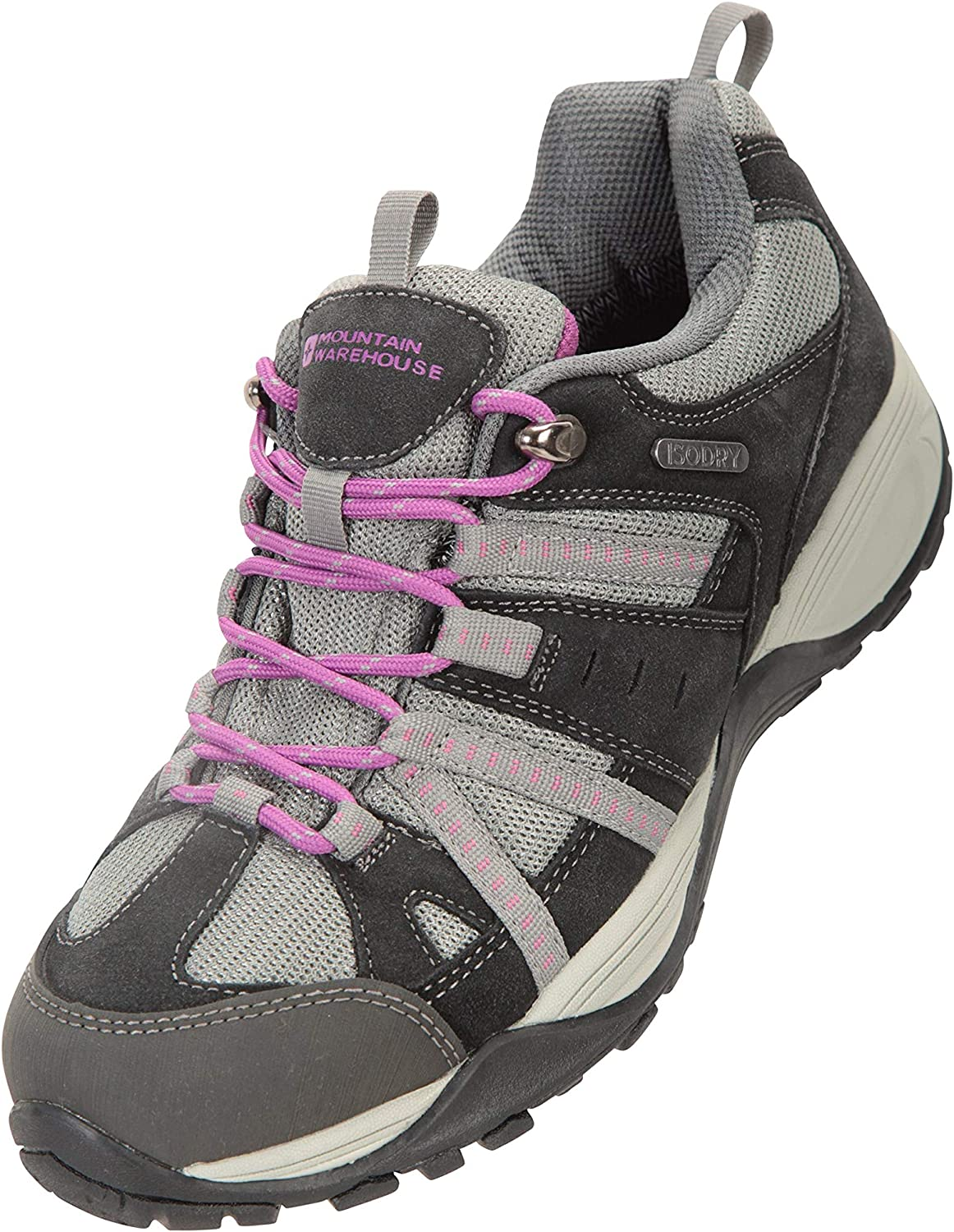 Mountain Warehouse Direction II Womens Waterproof Shoes - Synthetic Mesh Upper Ladies Footwear, EVA Cushioning, High Traction Rubber Outsole - Best for Hiking, Camping Gray