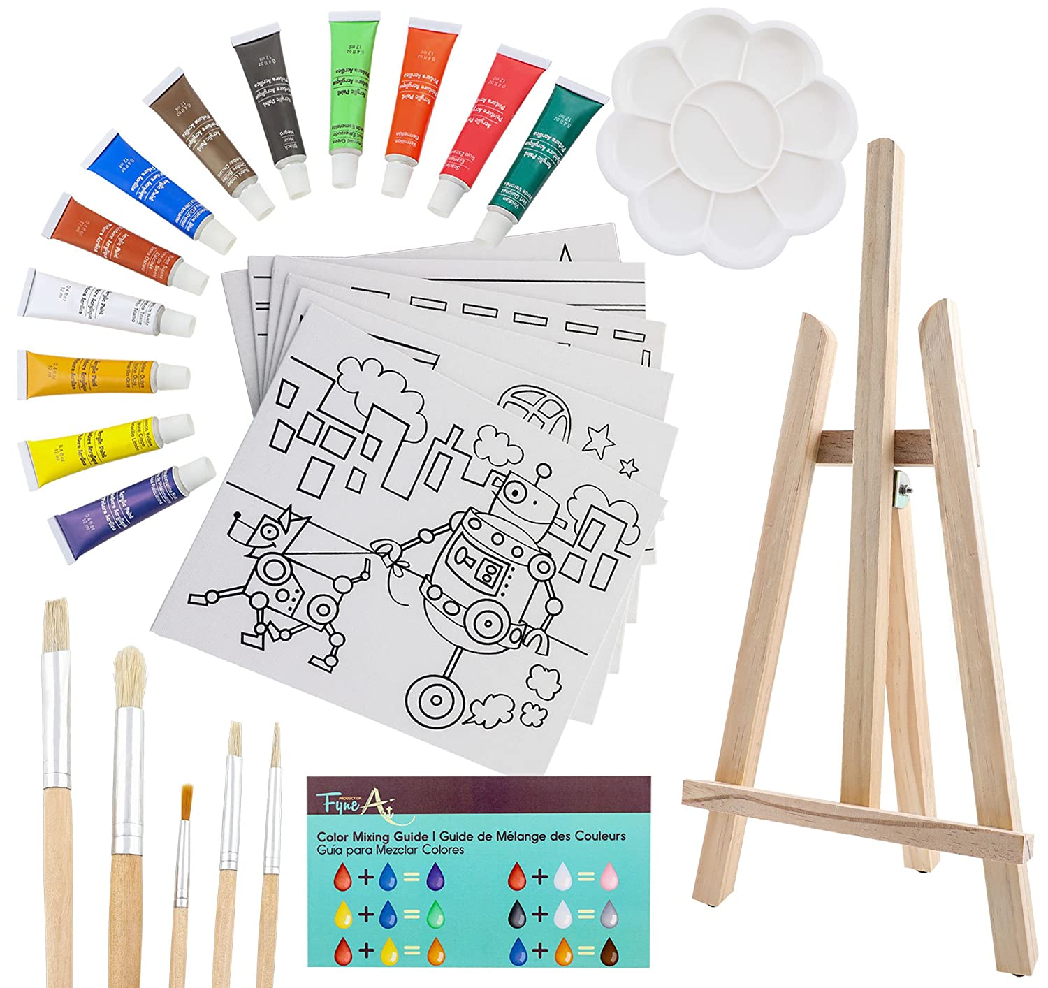 26-Piece Kids Canvas Painting Set - Arts and Crafts Easel Supplies Kit - Includes Wood Art Easel, Kid Canvases, Acrylic Paint, Kid Paint Brushes, Palette and More! Ages 5 and Up, by FyneArt 4336952689