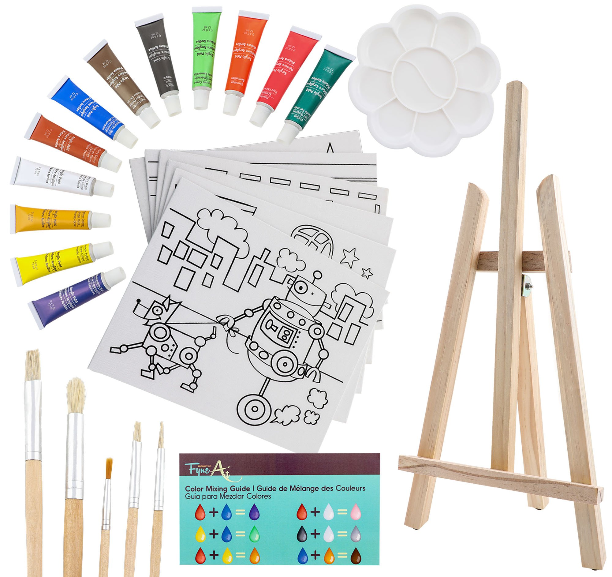 26-Piece Kids Canvas Painting Set - Arts and Crafts Easel Supplies Kit - Includes Wood Art Easel, Kid Canvases, Acrylic Paint, Kid Paint Brushes, Palette and More! Ages 5 and Up, by FyneArt